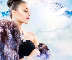 Woman wearing fur Stock Photo