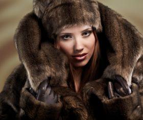 Woman wearing warm mink coat Stock Photo 02