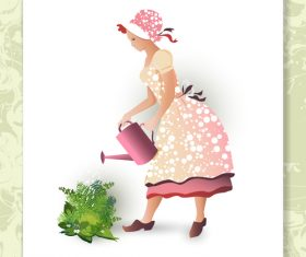 Women Water Plants Vector
