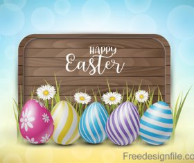 Wooden easter background with colored egg vector 01