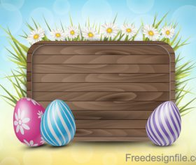 Wooden easter background with colored egg vector 02
