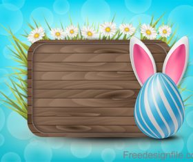 Wooden easter background with colored egg vector 03