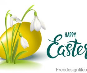 Yellow egg vector with easter flower vector