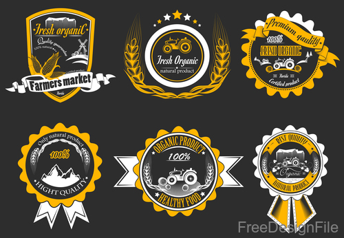 Yellow farm badge design vector