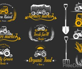Yellow farm labels design vector 01