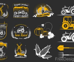Yellow farm labels design vector 03