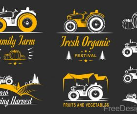 Yellow farm labels design vector 04