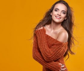 Young brunette woman portrait in autumn color Stock Photo 02