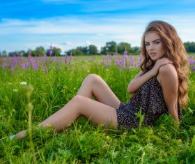Young woman spring is relaxing outdoors Stock Photo 03