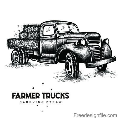 farmer trucks carrying straw vector