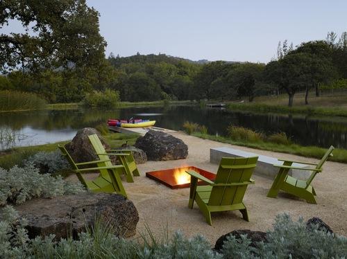 garden campfire lake Stock Photo