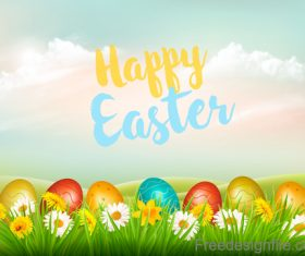 holiday easter background with colorful eggs and landscape vector