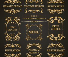 luxury retor decor labels vector
