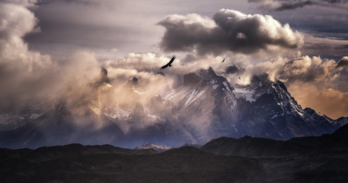 nature landscape mountains  birds sky clouds Stock Photo