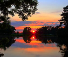 nature sunset reflection lake Stock Photo