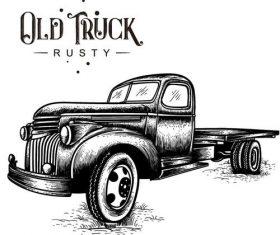 old truck rusty vector