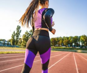 sports girls go jogging Stock Photo