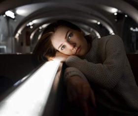 white sweater gray eyes women portrait Stock Photo