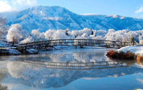 winter mountains bridge snow natural scenery Stock Photo