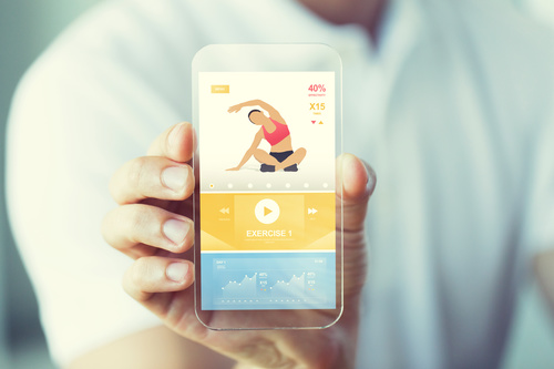 Сlose up of sport app on smartphone Stock Photo 02