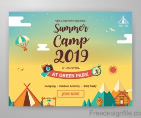 2019 Summer Camp vector background