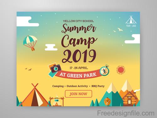 2019 Summer Camp vector background