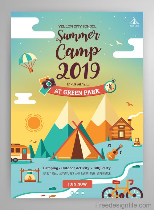 2019 Summer poster design vector