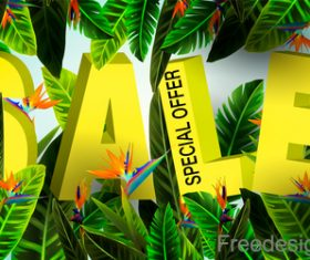 3D sale design with summer background vector