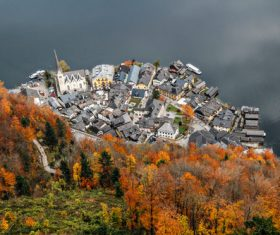 Aerial photograph Hallstatt Stock Photo