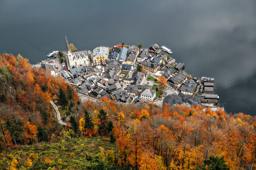 Aerial photograph Hallstatt Stock Photo