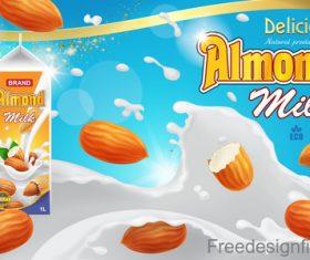 Almond milk poster template vectors