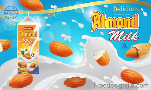 Almond milk poster template vectors