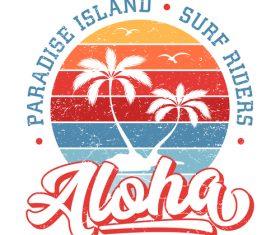 Aloha Paradise Island Logo design vector