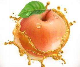 Apple juice splash vector illustration
