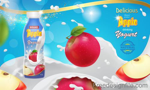 Apple milk poster template vector