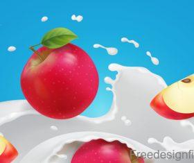 Apple with milk splatter design vector
