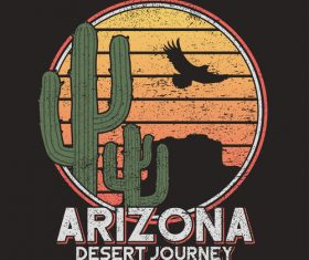 Arizona desert logo for t-shirt design vector