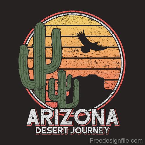 Arizona desert logo for t shirt design vector