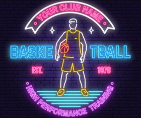 Backetball sport club neon logos vector set 01