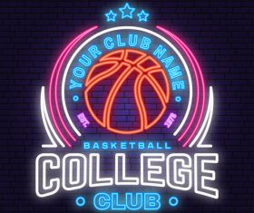 Backetball sport club neon logos vector set 02