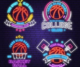 Backetball sport club neon logos vector set 03