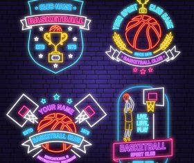 Backetball sport club neon logos vector set 04