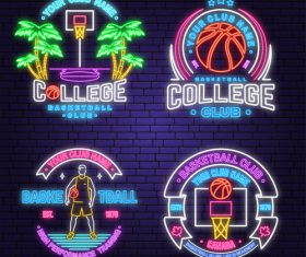 Backetball sport club neon logos vector set 05
