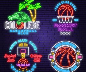 Backetball sport club neon logos vector set 06
