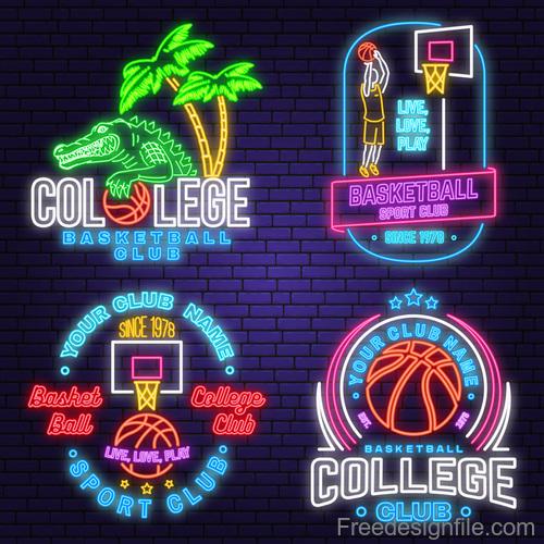 Backetball sport club neon logos vector set 07