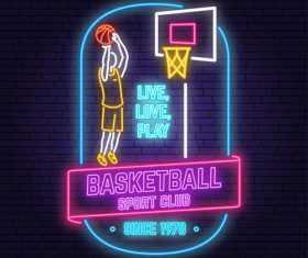 Backetball sport club neon logos vector set 08