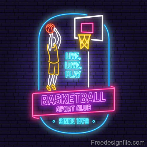Backetball sport club neon logos vector set 08