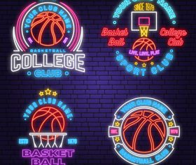 Backetball sport club neon logos vector set 09