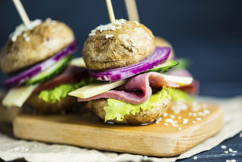 Balance meats and vegetables hamburger Stock Photo