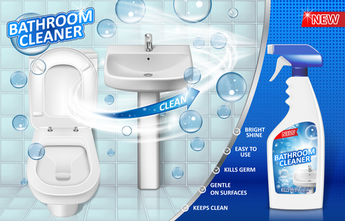 Batharoom cleaner poster template vector 01